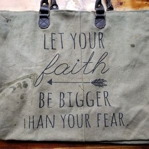 """Let Your Faith Be Bigger"" Totebag w/ Leather. Tan"